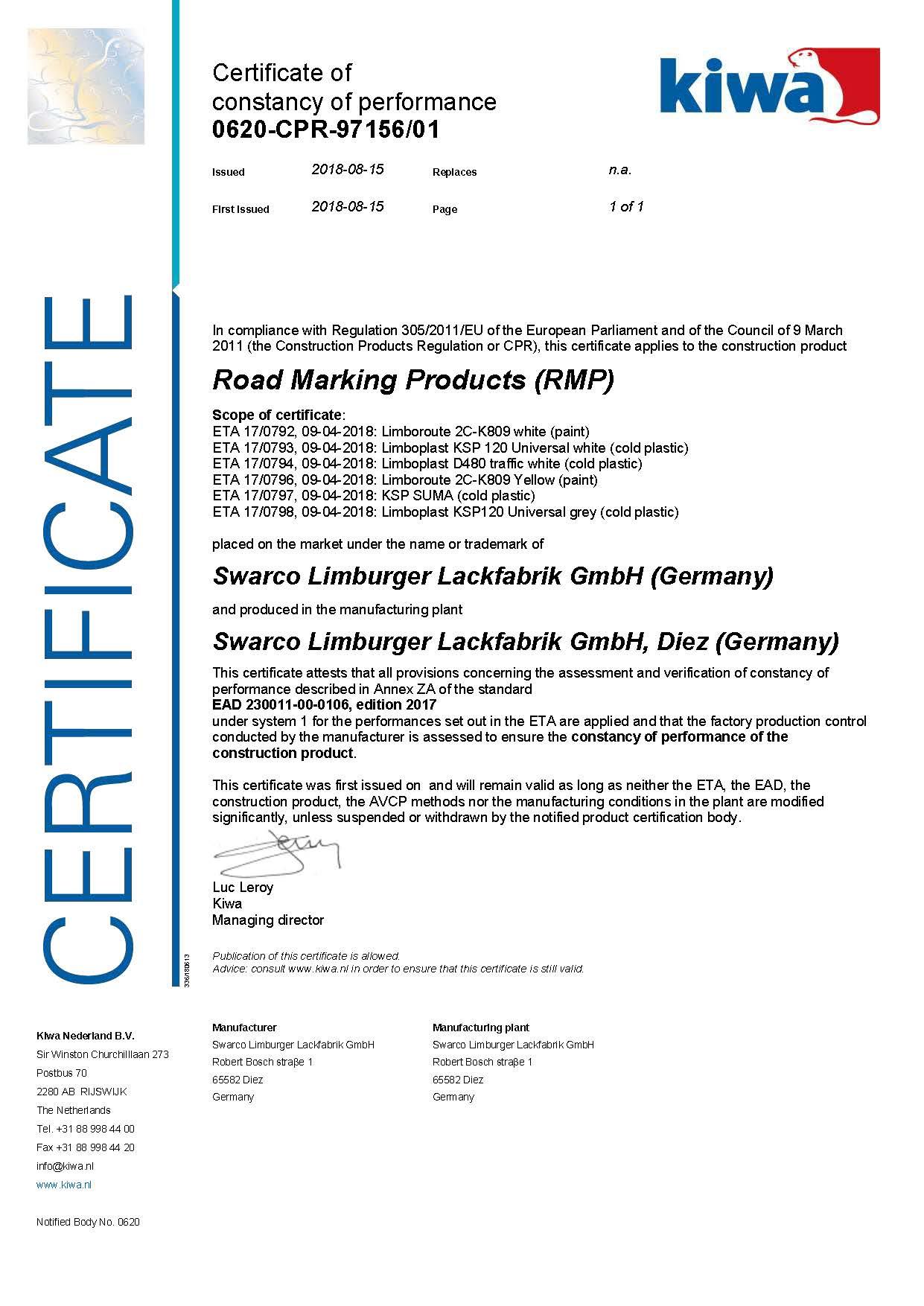 Certificaat Koudlplast - CE