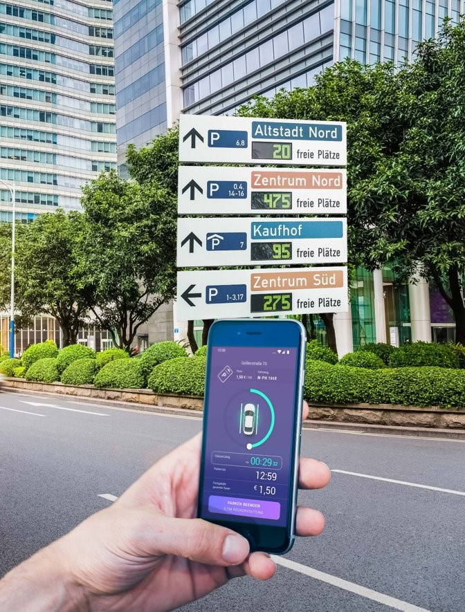 Smart phone showing the SWARCO Parking App