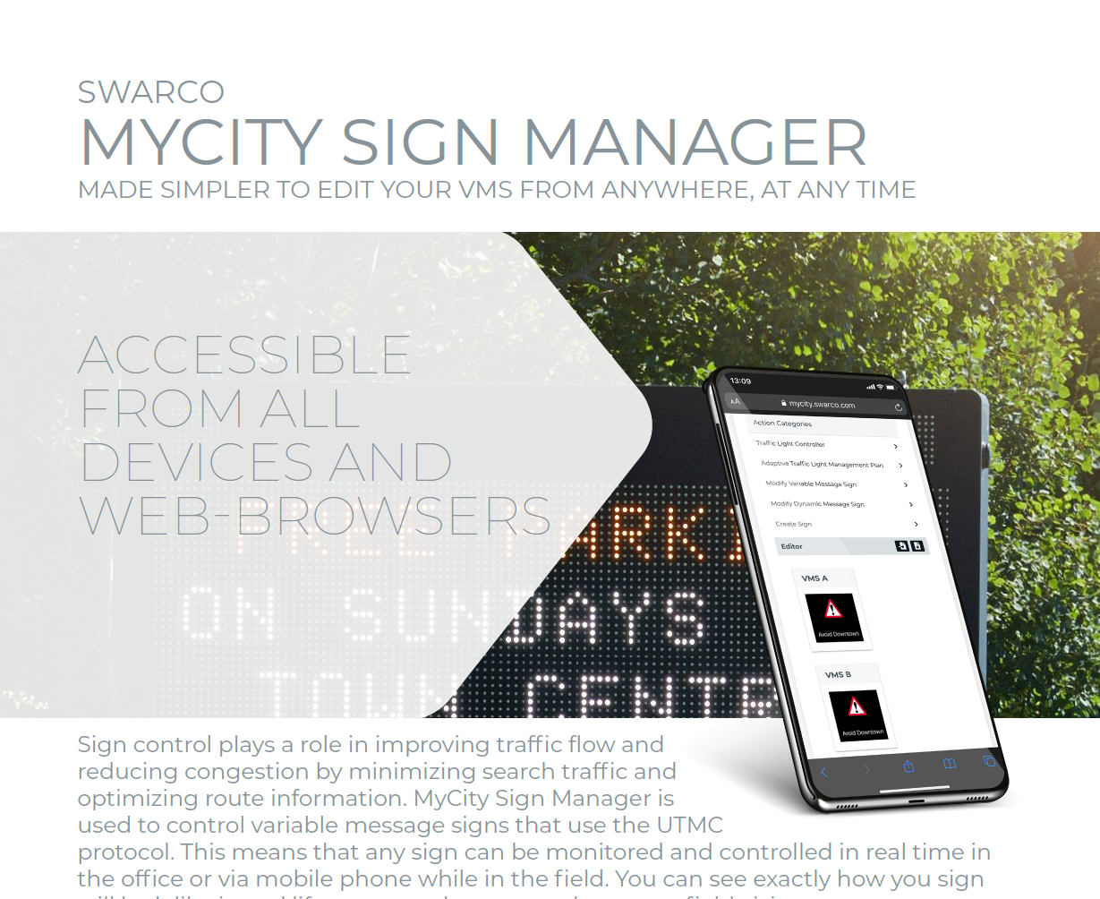SWARCO MyCity Sign Manager Solution Sheet 2021