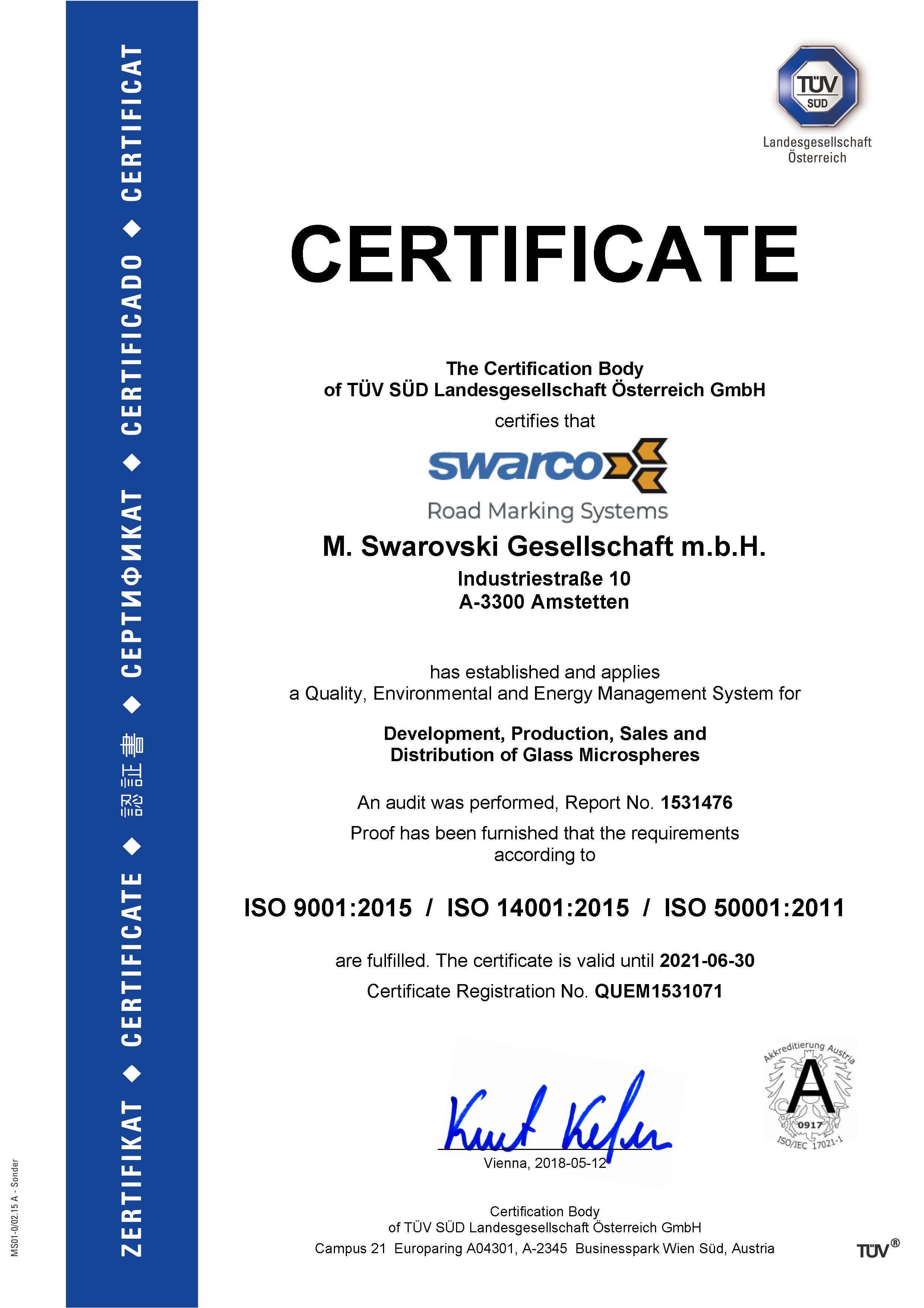 ISO Combination Certificate