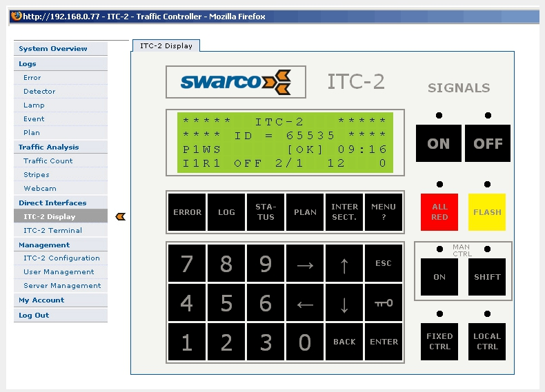 The Web Interface for ITC Traffic Controllers